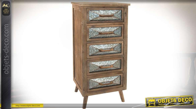 Chiffonnier 5 tiroirs bois veilli façades de tiroirs en métal martelé gris zinc ancien