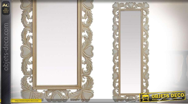 miroir mural haut en bois sculpt de style romantique 120 cm. Black Bedroom Furniture Sets. Home Design Ideas