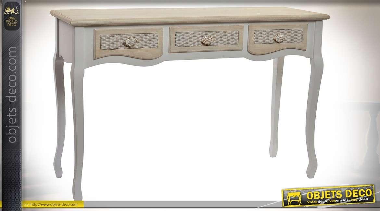 Console blanche et bois naturel  à 3 tiroirs style meuble régionaux anciens