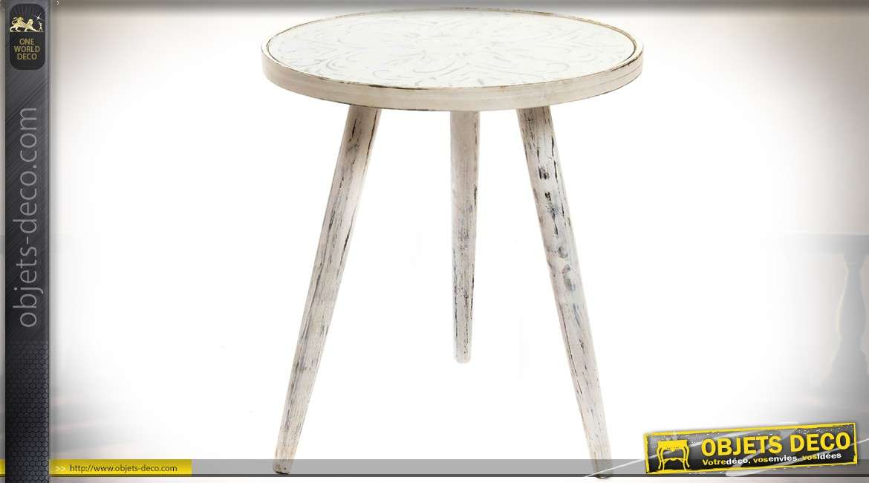 Bout de canapé vintage blanc veilli plateau circulaire en miroir Ø 45 cm