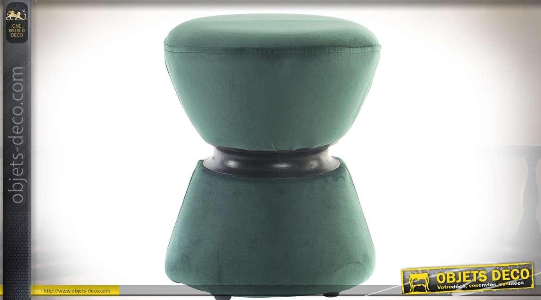 Petit tabouret original en forme de diabolo à calottes en tissu vert Ø 36,5 cm
