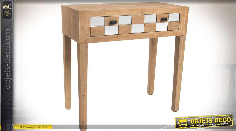 console esprit art d co avec tiroir en damier bois et. Black Bedroom Furniture Sets. Home Design Ideas