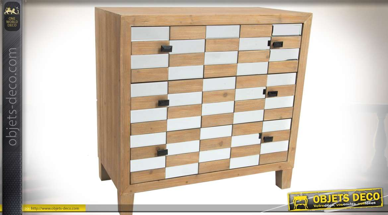 Commode Art Déco 3 tiroirs bois naturel et miroirs avec façade en damier