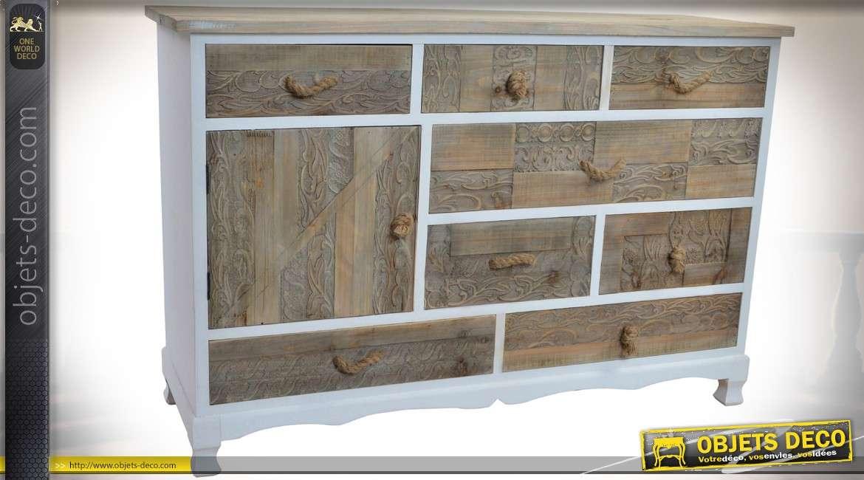 Commode rustique 8 tiroirs 1 porte bois et cordes finition blanche et bois vieilli - Blanche porte suivi de colis ...