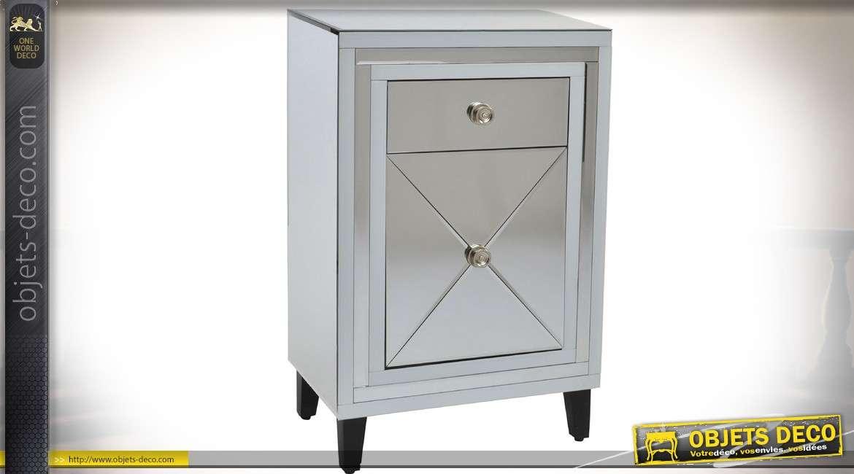 table de nuit style art d co patine gris clair et fa ades. Black Bedroom Furniture Sets. Home Design Ideas