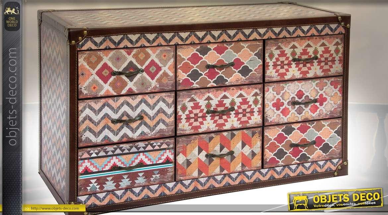 commode originale en bois et tissu esprit kilim avec 9 tiroirs. Black Bedroom Furniture Sets. Home Design Ideas
