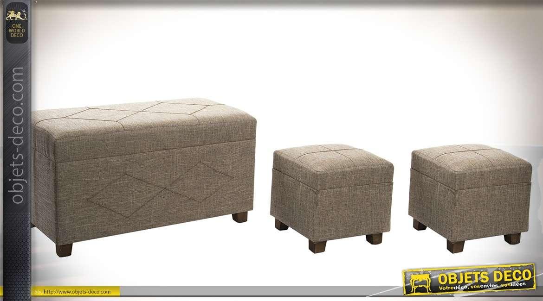 Banquette coffre en bois habillage en lin avec deux poufs assortis 80 cm