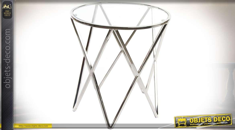 bout de canap design en m tal brillant argent avec plateau en verre 46 cm. Black Bedroom Furniture Sets. Home Design Ideas
