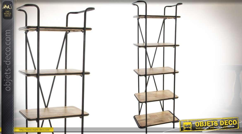 meuble tag re en colonne en bois et m tal de style industriel 181 cm. Black Bedroom Furniture Sets. Home Design Ideas