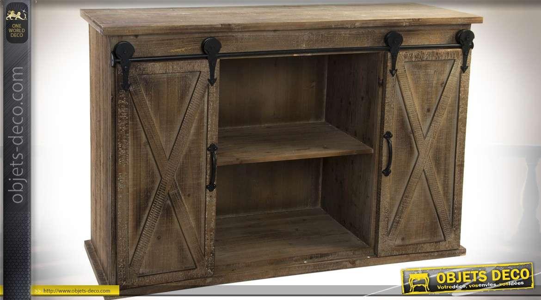 commode de style rustique et brocante effet bois vieilli. Black Bedroom Furniture Sets. Home Design Ideas