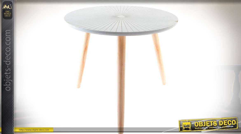 table basse circulaire bout de canap en bois naturel avec plateau laqu blanc motifs en. Black Bedroom Furniture Sets. Home Design Ideas