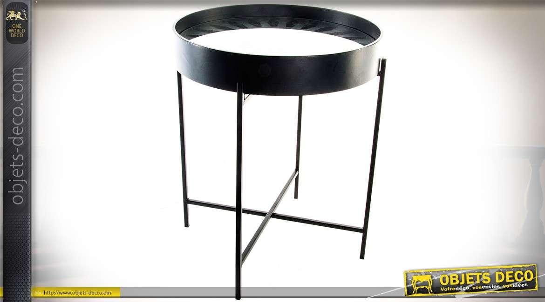Bout de canap en m tal et miroir de style industriel - Bout de canape industriel ...