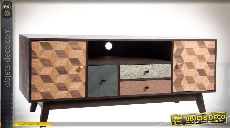 Meuble tv bois r tro et scandinave 2 portes 3 tiroirs fa ades graphiques - Meuble tv vintage scandinave ...
