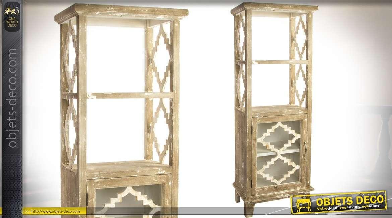 Buffet vertical avec 4 tag res style rustique et vieilli avec une porte vitr e 161 cm - Relooker une porte rustique vitree ...