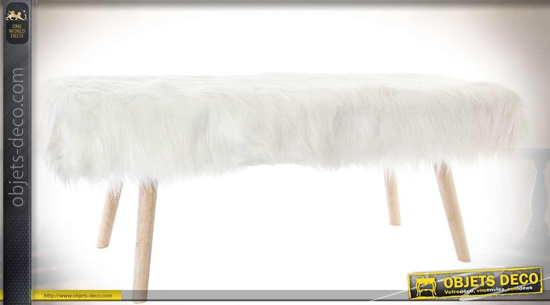 Banquette bout de lit dscandinave habillage imitation fourrure blanche 110 cm