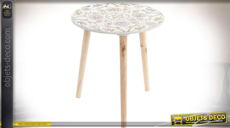 Bout de canapé circulaire bois naturel plateau blanc à motifs floraux Ø 40 cm