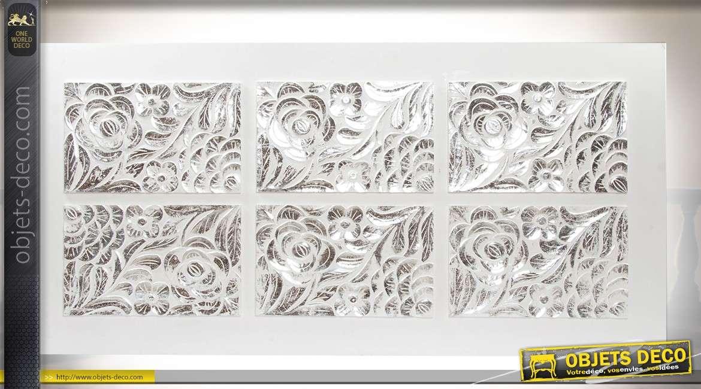 Tête de lit en bois à 6 panneaux en réserve sculptés de fleurs ...