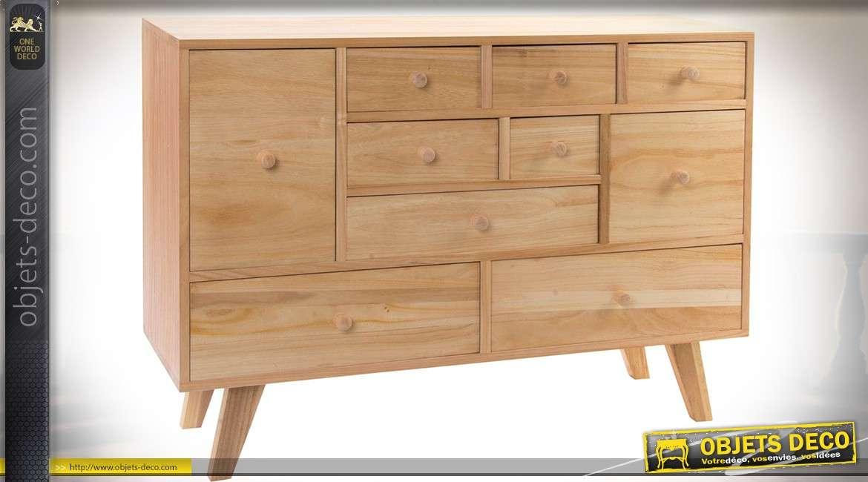 Commode scandinave à 10 tiroirs, finition bois naturel clair rendu asymétrique