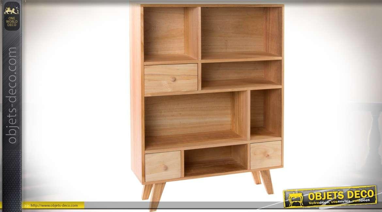 Armoire bibliothèque de style vintage et scandinave en bois naturel 104,5 cm