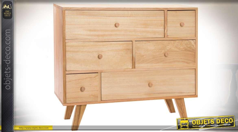 Commode bois naturel 6 tiroirs de style scandinave