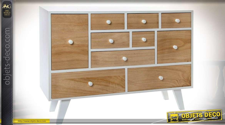 Commode 10 tiroirs blanche et bois naturel de style scandinave