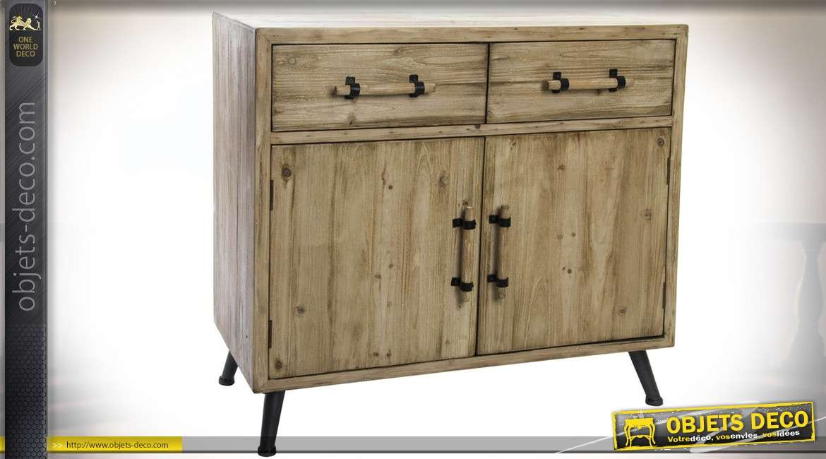 Buffet commode finition bois naturel 2 tiroirs 2 portes style scandinave