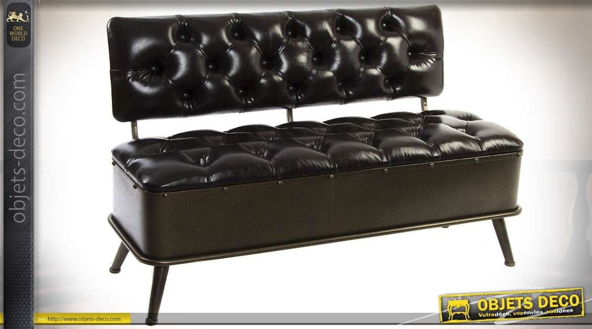 banquette indus et vintage avec dossier en similicuir noir capitonn et m tal. Black Bedroom Furniture Sets. Home Design Ideas