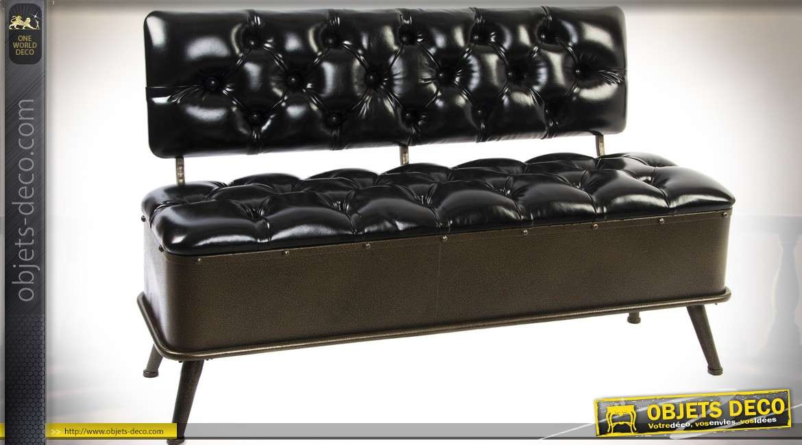 banquette canap de style vintage en m tal et simili cuir noir 120 cm. Black Bedroom Furniture Sets. Home Design Ideas