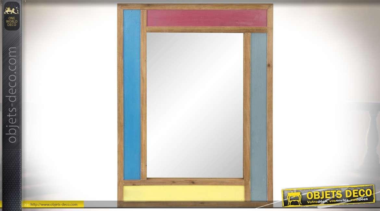 Miroir mural 71 x 51 cm avec encadrement en bois à panneaux multicolores
