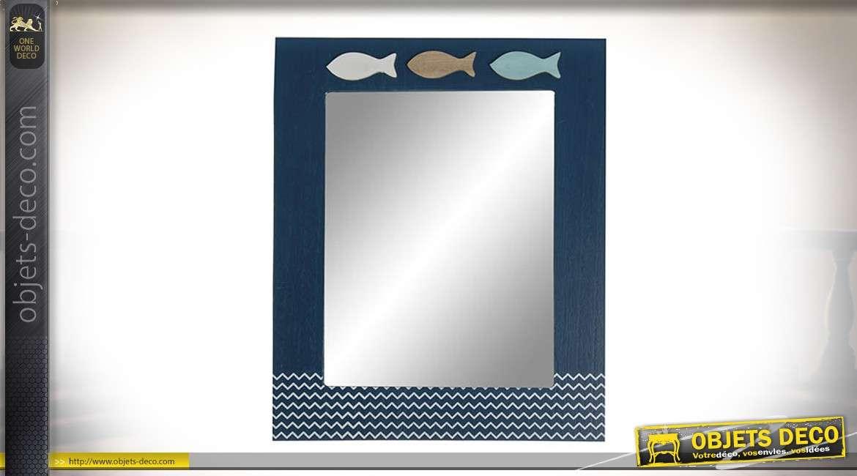 Miroir rectangulaire en bois avec motifs de poissons et vaguelettes stylisées 39 cm