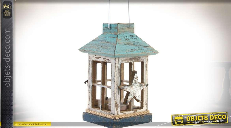 Lanterne en bois, verre et corde, de style rétro et bord de mer 23 cm