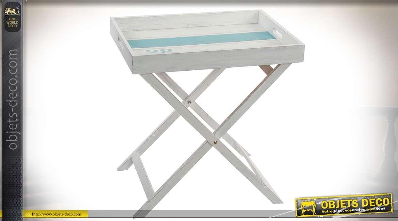 table d 39 appoint de style bord de mer en bois blanc sur. Black Bedroom Furniture Sets. Home Design Ideas