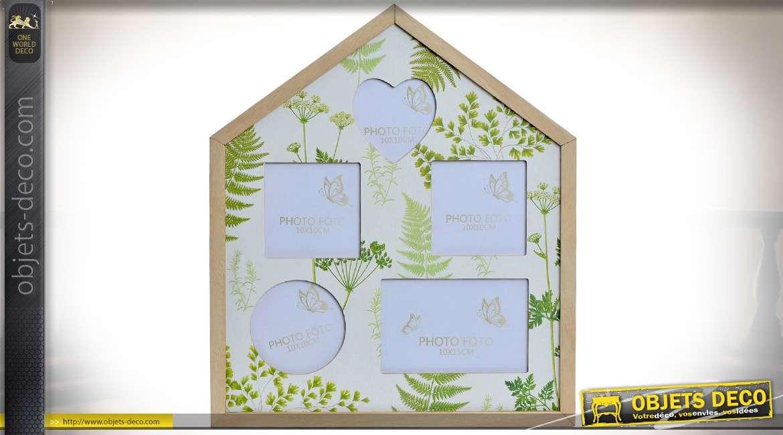 Pêle-mêle à 5 vues, en bois, en forme de maison avec illustrations de feuillages