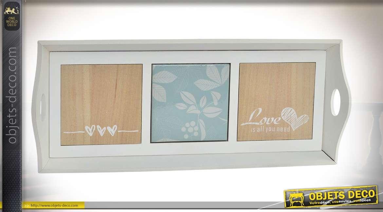 Série de 3 plateaux de service ou de décoration en bois et céramique coloris gris clair 40 cm