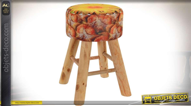 Petit tabouret avec assise imitation tranche d'ananas et piètement en bois