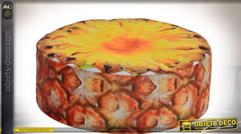 Coussin de sol cylindrique en tissu en forme de tranche d'ananas Ø 40 cm