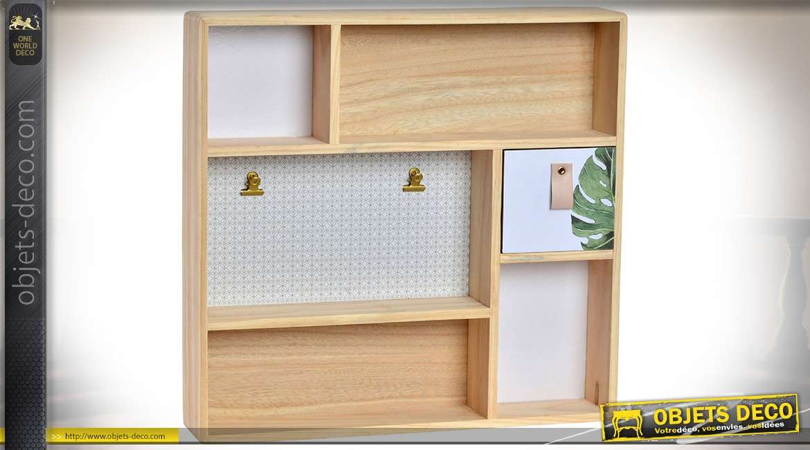 etag re murale multifonction compartiment e en bois naturel 41 x 39 cm. Black Bedroom Furniture Sets. Home Design Ideas