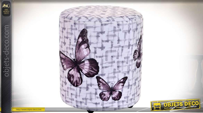 Pouf repose-pied en bois et habillage tissu style rétro et motifs de papillons