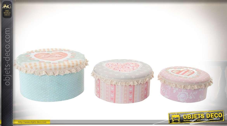 Série de 3 boîtes rondes en cartons avec ornementations en tissu Ø 20 cm