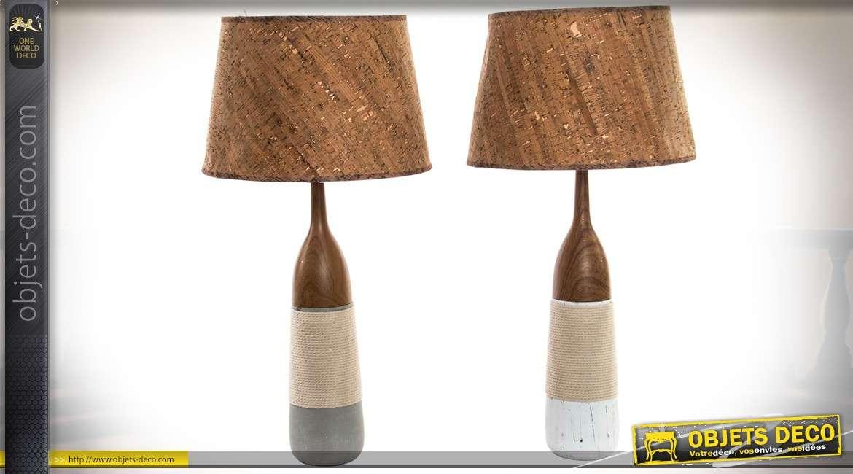 Duo de grandes lampes de table en céramique, cordage et liège 65 cm