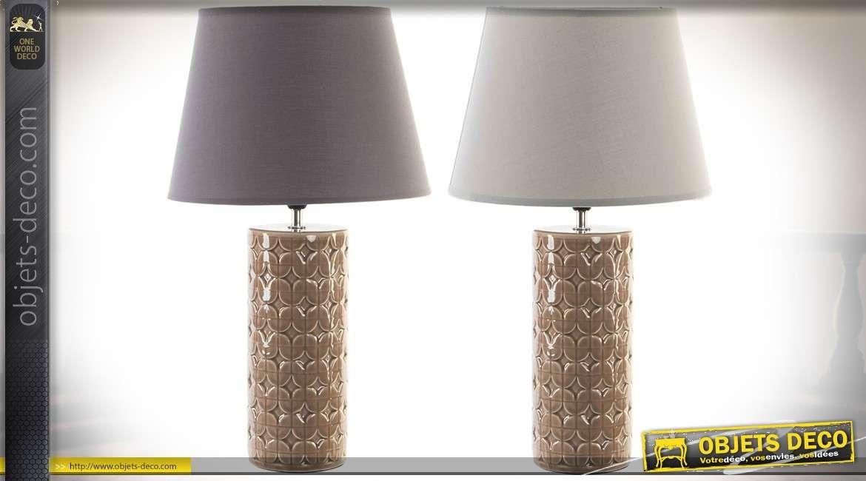 Duo de lampes pieds cylindriques en céramique abat jour blanc et