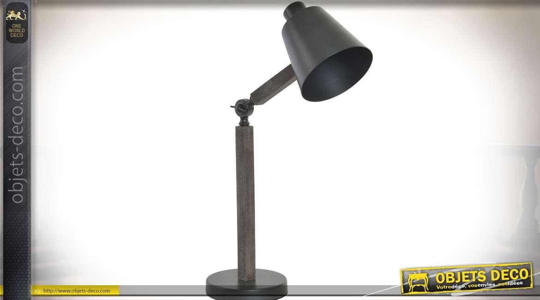 Lampe de bureau ou d atelier bois et métal style rétro cm