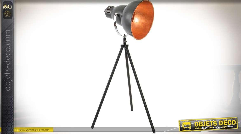 lampe projecteur en m tal style industriel gris anthracite sur tr pied 64 cm. Black Bedroom Furniture Sets. Home Design Ideas