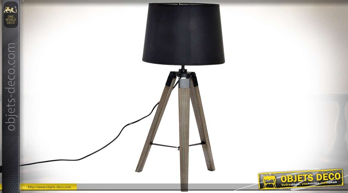 lampe sur tr pied de style industriel et bois et m tal 65 cm. Black Bedroom Furniture Sets. Home Design Ideas