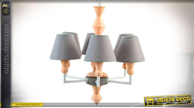 Lustre de syle scandinave à 6 bras, bois naturel et tissu gris clair Ø 50 cm