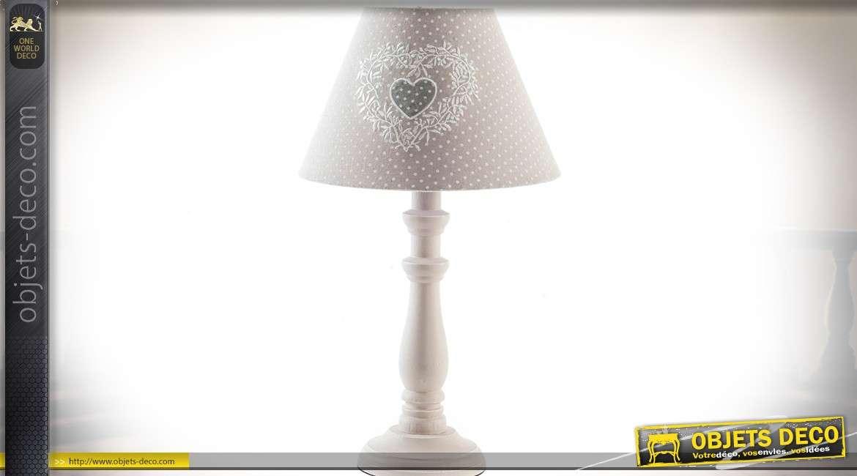 duo de lampes de table chevet de style r tro et romantique gr ge pois blanc 40 cm. Black Bedroom Furniture Sets. Home Design Ideas