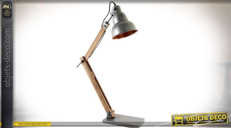 Grande lampe de bureau en bois et métal style rétro cm