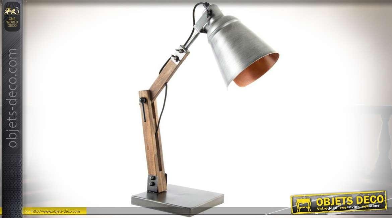 Lampe de bureau style rétro et atelier en bois et métal 52 cm