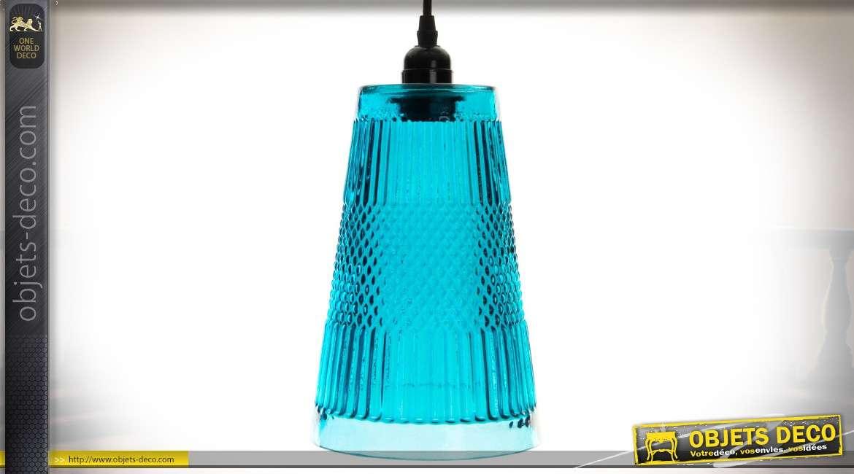 Suspension en verre de forme conique allongée teinte bleue 30 cm