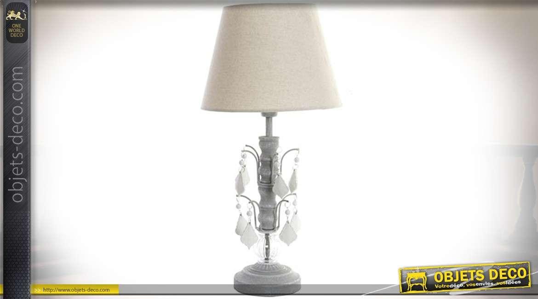 lampe de chevet pied pampilles opaques et abat jour. Black Bedroom Furniture Sets. Home Design Ideas